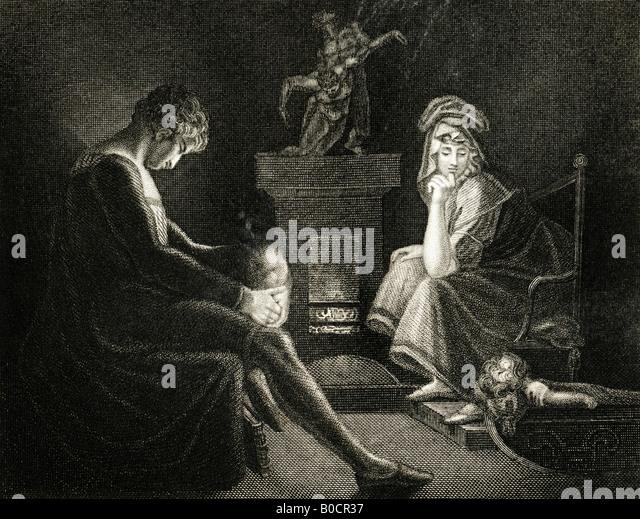 19. Jahrhundert Gravur Druck der Stille 1835 aus einem Gemälde von J A Füssli RA von John Miltons Il Penseroso Stockbild