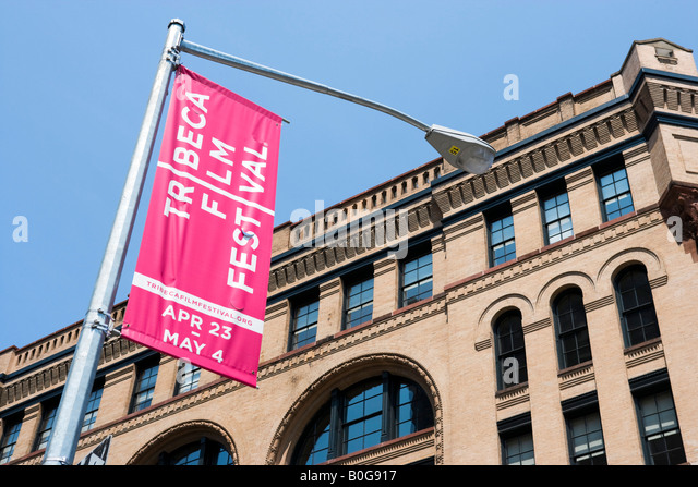 Banner-Werbung der Tribeca Film Festival 2008, Tribeca, Manhattan, New York City Stockbild