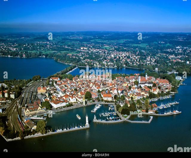 Lindau am Bodensee, Luftaufnahme, Schwaben, Bayern, Deutschland Stockbild