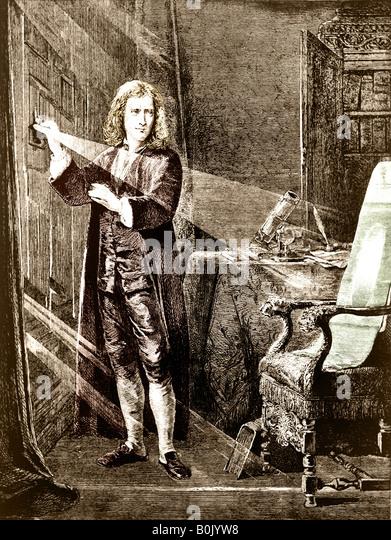 Sir Issac Newton, Philosoph und Wissenschaftler, den Lichtstrahl zu analysieren. Stockbild