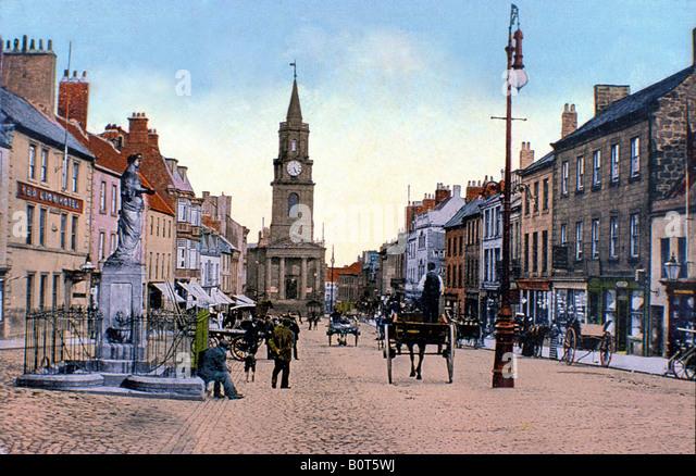 Berwick nach Tweed-Marygate und der Guildhall in diesem Ende des 19. Jahrhunderts Straßenszene der nördlichsten Stockbild