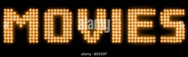 Das Wort Filme in leuchtenden Glühbirnen Stockbild