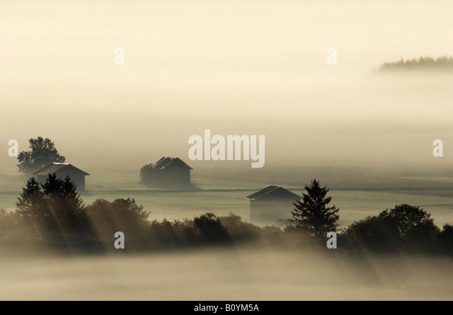 Deutschland, Bayern, Landschaft im Morgennebel Stockbild