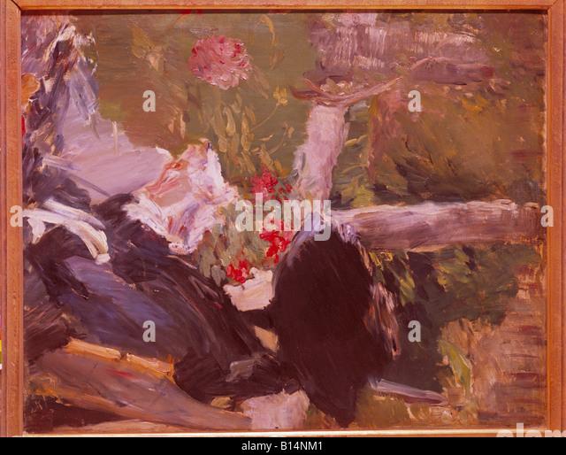 "Bildende Kunst, Manet, Edouard, (1832-1883), Malerei, ""La Reine de Manet Dans le Jardin de Bellevue"", Stockbild"