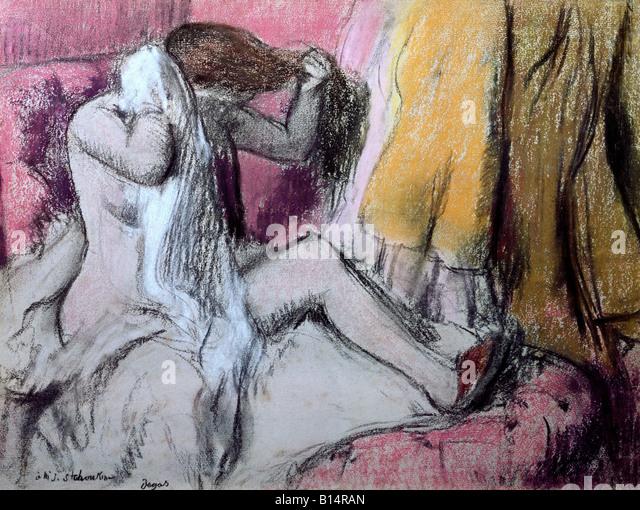 """Bildende Kunst - Gemälde """"Apres le Bain"""", ca. 1888/1892, Pastell auf Papier, 48 x 63 cm, Bayerische Stockbild"""
