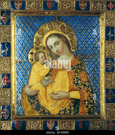 Bildende Kunst, sakrale Kunst, Jungfrau Maria mit Kind, Malerei, Tempera auf Holz, gilted Silberblock mit Emaille Stockbild