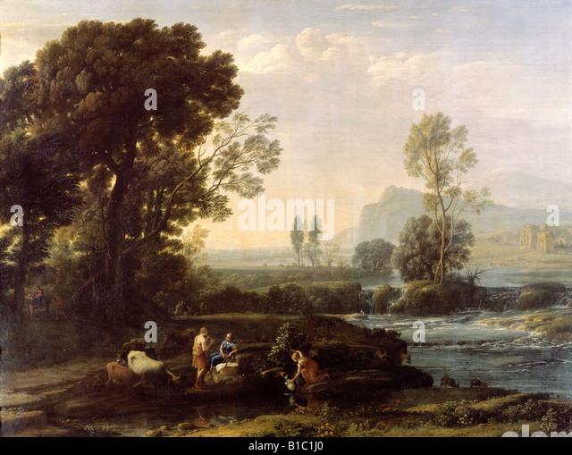 """Bildende Kunst, Lorrain, Claude (1600 - 23.11.1682), Malerei, """"Landschaft mit Ruhe auf der Flucht nach Ägypten"""", Stockbild"""