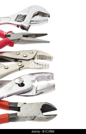 Heimwerker Werkzeuge mit textfreiraum auf weißem Hintergrund Stockbild