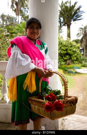 Ecuadorianische Mädchen bei Hacienda San Agustin de Callo in Cayambe in Imbabura Provinz von Norden Ecuadors Stockbild