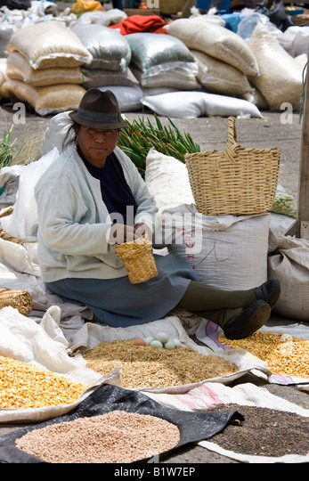 Ecuadorianische Frau auf einem Markt in dem Dorf Saquisili in der Cotopaxi-Region von Ecuador in Südamerika Stockbild