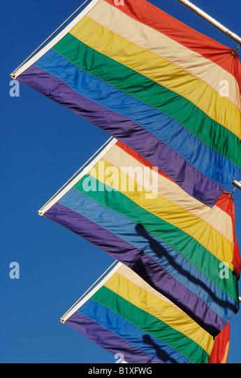 Regenbogen Flaggen zum Gay Pride Stockbild