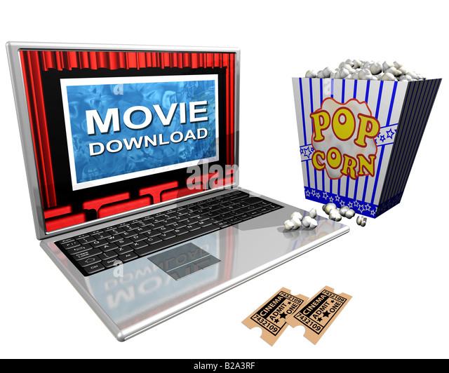 Isolierte Abbildung aus einem Laptop und einem Eimer Popcorn porträtiert der Film-Downloads über das Internet Stockbild