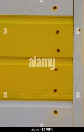 Nahaufnahme eines horizontalen Holzlatten der Strandhütte am Cromer Stockbild