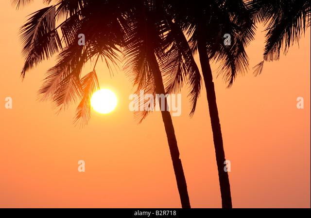 Sonnenuntergang über Agonda Beach, Goa, Indien, Asien Stockbild