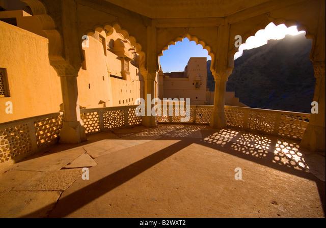 Amber Fort, Stadt Jaipur, Rajasthan, Indien, Subkontinent, Asien Stockbild
