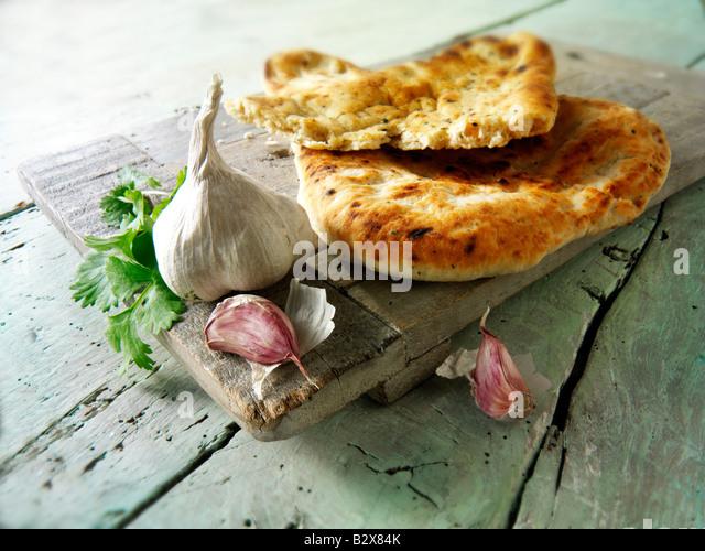 Knoblauch und Koriander indische Naan-Brot Stockbild
