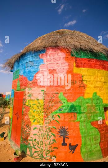 Künstlerkolonie, große Thar-Wüste, in der Nähe von Jaisalmer, Rajasthan, Indien, Subkontinent, Stockbild