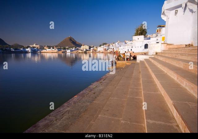 Pushkar-See, Pushkar, Rajasthan, Indien, Subkontinent, Asien Stockbild