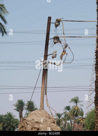 Power Kabel Luxor Ägypten Afrika Stockbild