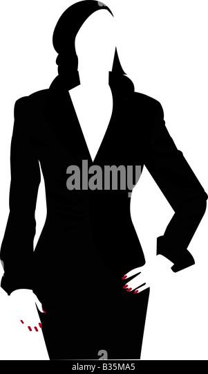 Silhouette einer Frau mit roten Nägeln Stockbild