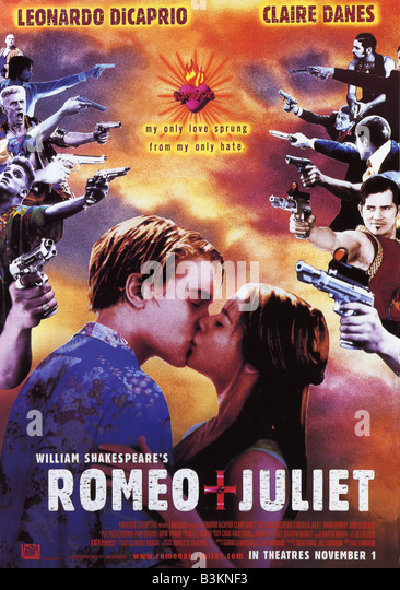 WILLIAM SHAKESPEARE'S ROMEO AND JULIET Poster für das Jahr 1996 TCF/Bazmark film mit Leonardo DiCaprio Stockbild