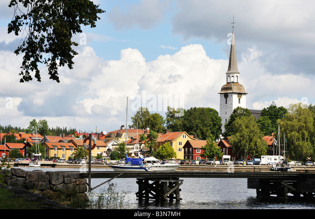 Die kleine Stadt Mariefred Sodermanlands Lan Sweden August 2008 Stockbild