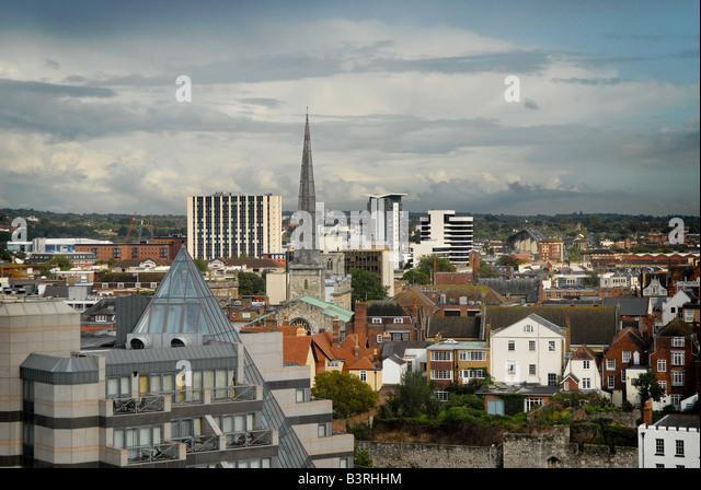 Southampton-Skyline bei einem späten Sommernachmittag Stockbild