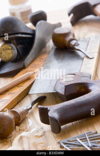Altmodische Werkzeugsortiment Stockbild