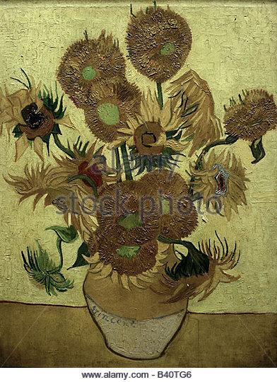 """Bildende Kunst, Gogh, Vincent van (1853-1890), Malerei, """"Vierzehn Sonnenblumen in einer Vase"""", 1889, Öl Stockbild"""