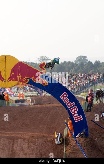 Red Bull gesponserten Sponsor Moto cross Veranstaltung, Sport-marketing-Produkt branding Markenattribute Stockbild