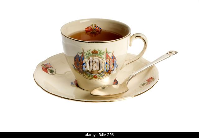 Coranation Königin Elizabeth II Teetasse Stockbild