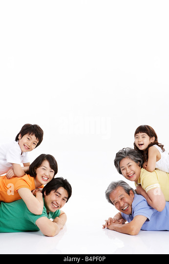 Porträt der Familie übereinander liegende Stockbild