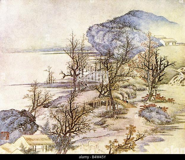 """Geographie / Reisen, China, Landschaft / Landschaften, """"Frühling am Fluss"""", Gemälde von Fan Stockbild"""