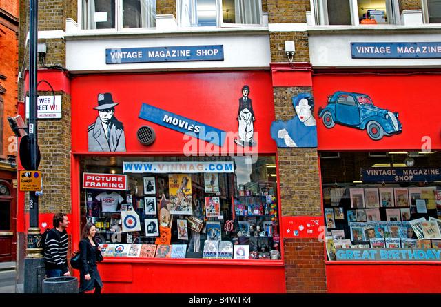 Soho Vintage Magazin-Shop Filme London England Stockbild