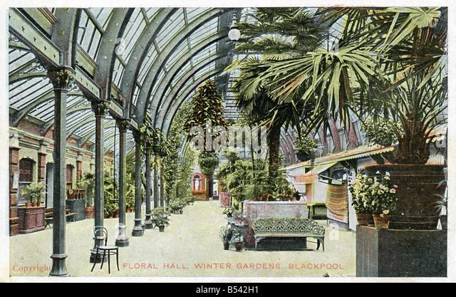 Alte Vintage Meer Ansichtskarte von der Floral Hall Winter Gardens Blackpool nur zur redaktionellen Nutzung Stockbild