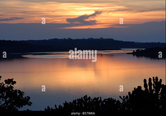 Queen Elizabeth National Park, Hütte Kanal, Uganda, Ostafrika, Afrika Stockbild