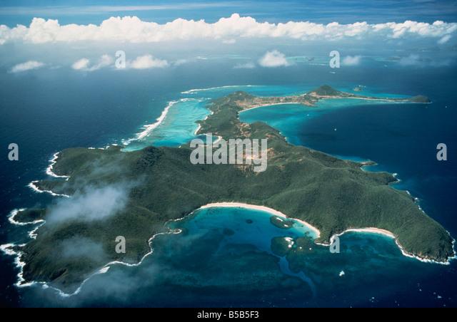 Luftaufnahme über tropische Insel, Tobago, Antillen, Karibik, Mittelamerika Stockbild