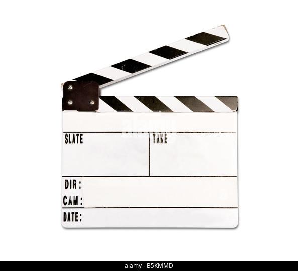 Echte Clap Board mit Verschleiß isoliert auf weißem Hintergrund Stockbild