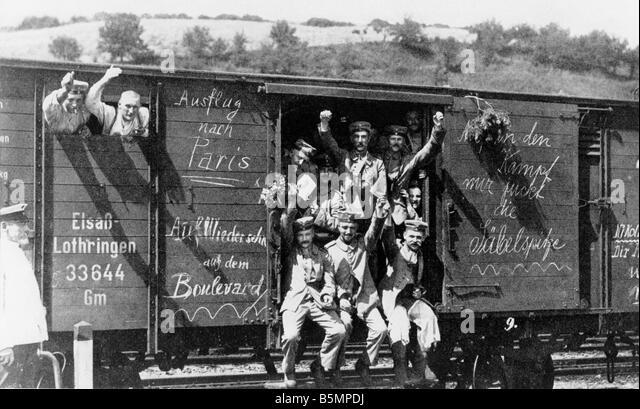 9 1914 8 0 A5 Mobilisierung der deutschen Truppen 1914 Geschichte Weltkrieg eine Mobilisierung August 1914 Abfahrt Stockbild