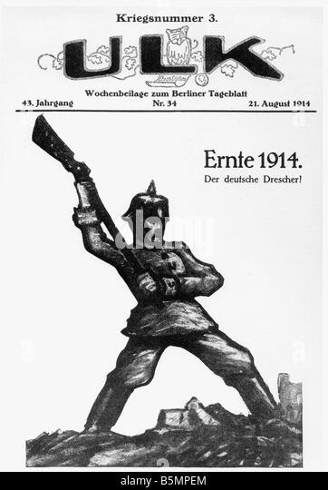 9 1914 8 21 C1 E Ernte 1914 vom Ulk Weltkrieg 1914-18 1 Ernte 1914 die deutschen Thrasher Titelblatt der Zeitschrift Stockbild