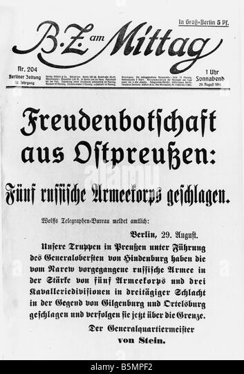 9 1914 8 29 E1 E Schlacht von Tannenberg 1914 BZ Mittag Welt Krieg 1 östlichen vorderen Schlacht von Tannenberg Stockbild