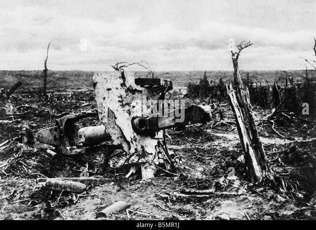 9 1916 9 15 A1 E Artillerie Position im Martinpuich 1916 1 Weltkrieg 1914 1918 Westfront Schlacht des Somme 23 Juni Stockbild