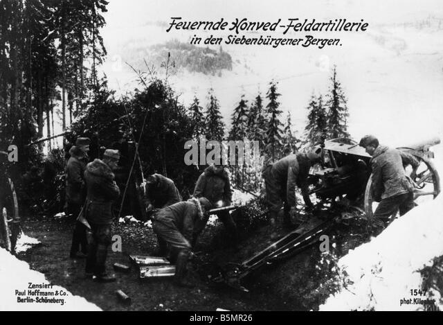 9 1917 1 0 A1 E Honved Feldartillerie in Sieben montieren Weltkrieg 1 Rumänien rumänische Kampagne August Stockbild