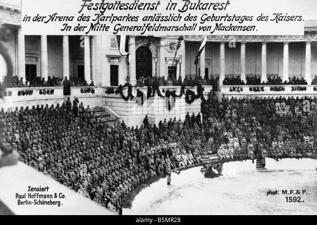 9 1917 1 27 A1 Spezialservice in Bukarest Foto 1. Weltkrieg Rumänien Spezialservice in Bukarest auf 27. Ja Stockbild