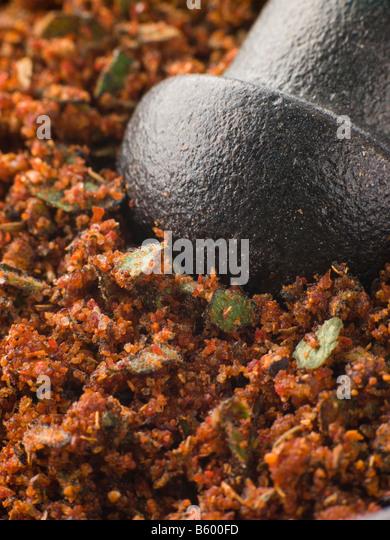 Cajun Spice Rub in einem Stößel und Mörser Stockbild