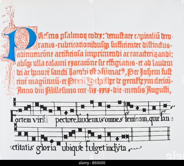 Teil einer Seite mit beleuchtete Hauptstadt P aus der 1459-Ausgabe von Fust und Schoiffer s lateinischen Psalter. Stockbild