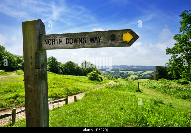 North Downs Way Wanderweg Richtung Wegweiser an der Ecke Newlands, Surrey, England, UK Stockbild