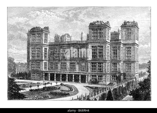 Hardwick Hall des 19. Jahrhunderts Gravur Stockbild
