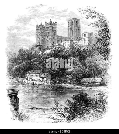 Kathedrale von Durham 19. Jahrhundert Illustration Stockbild