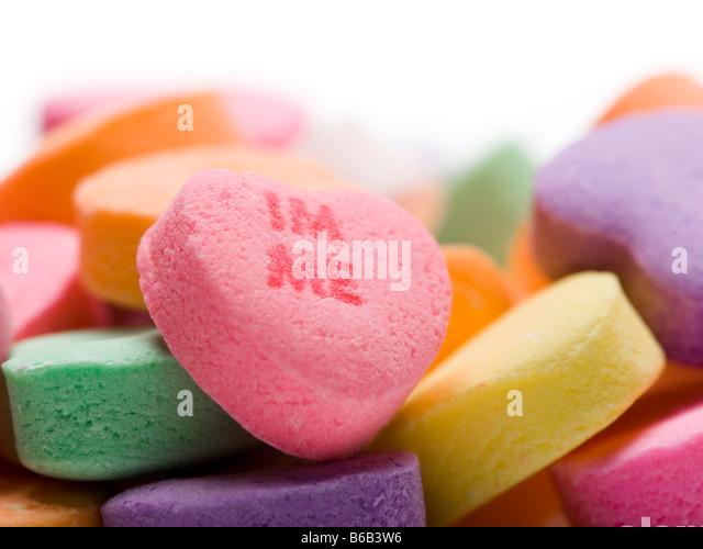 Ich bin mir Süßigkeiten Herzen Stockbild